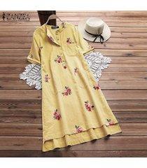 zanzea mujeres floral del verano de manga corta floja ocasional de tapas largas camiseta vestido plus -amarillo