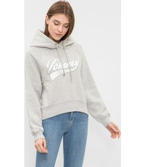 buzo gris tommy hilfiger carrie hoodie ls