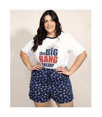 pijama feminino plus size the big bang theory estampado manga curta branco