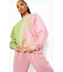 dip dye tour sweater met rugopdruk, hot pink