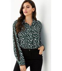 yoins leopardo verde classic blusa con botones delanteros y cuello