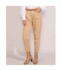 calça de sarja feminina clochard cintura alta com cinto bege