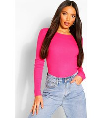 tall fine rib crew neck sweater, hot pink