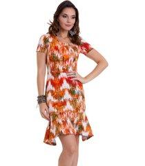 vestido manola babado neoprene colorido com laranja
