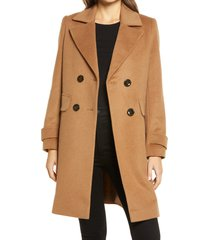 women's sam edelman double breasted coat, size 8regular - brown