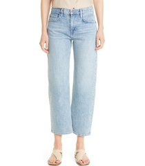 women's lafayette 148 new york bedford kindcotton crop straight leg jeans, size 32 - blue