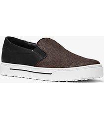 mk sneaker baxter modello slip-on in pelle con logo - nero/marrone (marrone) - michael kors