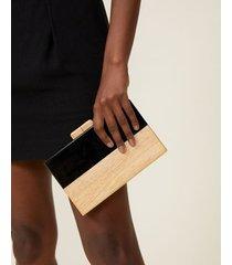 amaro feminino bolsa clutch madeira e resina, preto