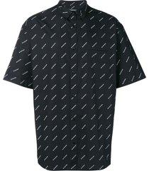 balenciaga all-over logo poplin shirt - black