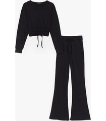 womens flare is flare cropped sweatshirt and pants set - black
