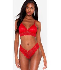 womens lace get down to business bralette and panty set - red