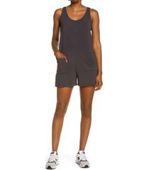 women's madewell mwl superbrushed pull-on romper, size large - black