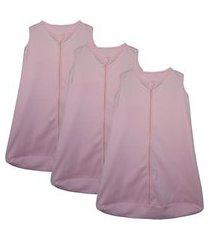 kit 3 saco de dormir bebê rosa enxoval pijama 100% algodão