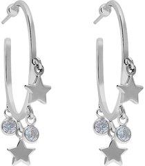 orecchini a cerchio in argento rodiato con stelle e zirconi per donna