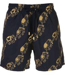vilebrequin elephant embroidered swim shorts - blue