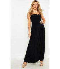 petite geplooide strapless maxi jurk, black