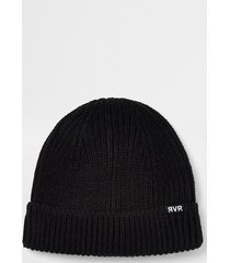 river island mens black knitted docker beanie hat