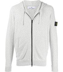 stone island compass badge zip-up hoodie - grey
