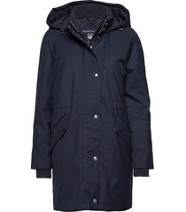 o1. technical wool down parka parka lange jas jas blauw gant