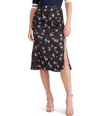 women's veronica beard vanity ruched floral print silk blend skirt
