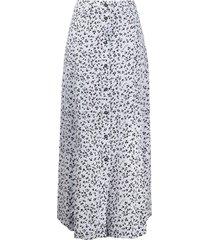 ganni floral print buttoned mid skirt - blue