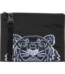 kenzo kampus logo-tiger canvas clutch