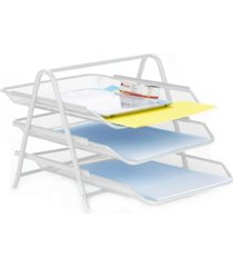 mind reader 3 tier mesh paper file tray, desk organizer with 3 sliding trays