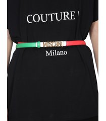 moschino tricolour leather belt