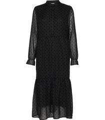 dress w. gatherings at skirt part knälång klänning svart coster copenhagen