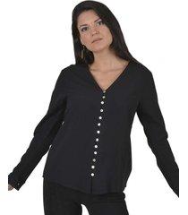 blusa abotonada v negro alexandra cid