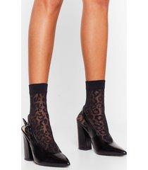 womens fierce on the outside leopard sheer socks - black