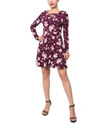 planet gold juniors' printed lace-up a-line dress