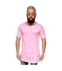 camiseta destroyed hardcore line giletada long rosa