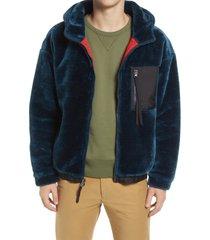 ugg(r) kairo plush fleece zip hoodie, size small in deep blue at nordstrom