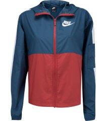 jaqueta corta-vento com capuz nike sportswear woven core - feminina - azul esc/branco