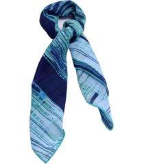 lenço smm acessórios arte moderna azul e verde - tricae