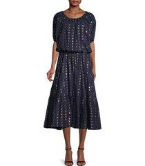 rhode women's frida blouson midi dress - navy - size s