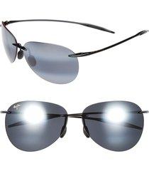 women's maui jim sugar beach 62mm polarizedplus2 rimless sunglasses - gloss black/ neutral grey