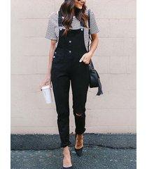 black adjustable shoulder straps sleeveless jumpsuit