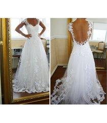 sexy ball gown straps sleeveless white tulle applique wedding dress,bridal dress