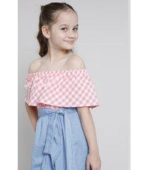blusa infantil ciganinha estampada xadrez rosa