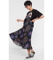 pleated midi-skirt mandalas - black - 44