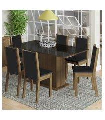 conjunto sala de jantar moscou plus madesa mesa tampo de vidro com 6 cadeiras rustic/preto
