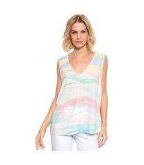 blusa regata plano estampada energia fashion branco/pink/verde
