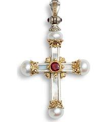 women's konstantino hestia sterling silver pearl cross pendant