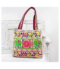 embroidered tote handbag, 'elephant fantasies in eggshell' (india)