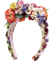 dolce & gabbana embellished floral headband - red