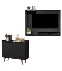 kit painel para tv 48 polegadas dubai preto e aparador buffet 2 portas retrô clean preto.