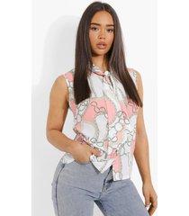geweven kettingprint blouse met strik, peach
