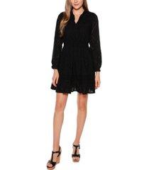 belldini black label long sleeve eyelet ruffle dress